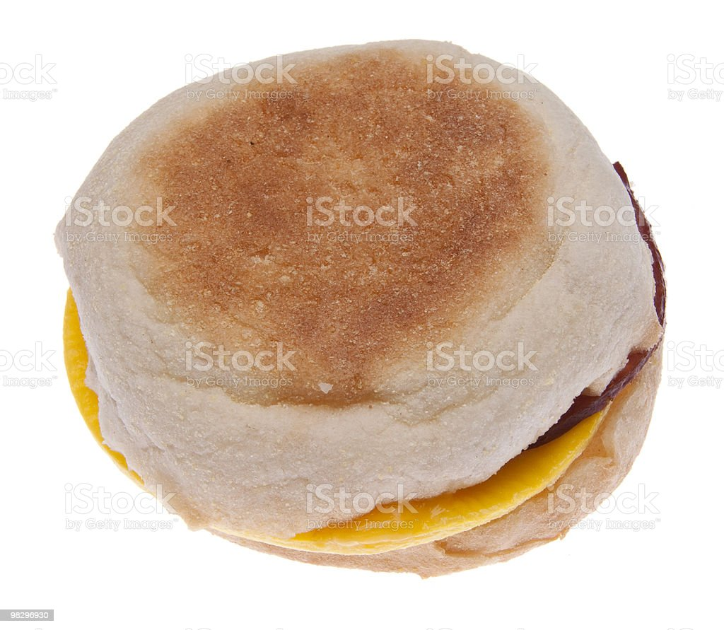 Bacon Egg and Cheese Sandwich on an English Muffin royalty-free stock photo