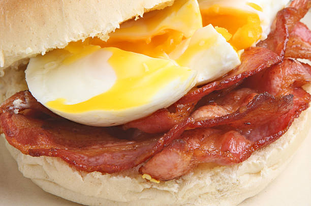 Bacon & Egg Bap or Roll stock photo