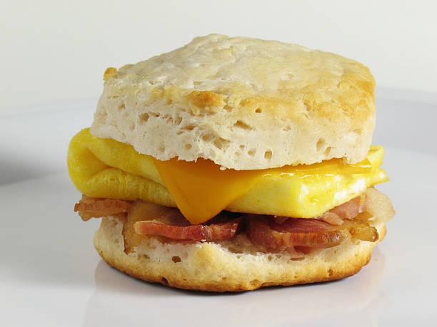 Bacon & Egg Biscuit  biscuit stock pictures, royalty-free photos & images