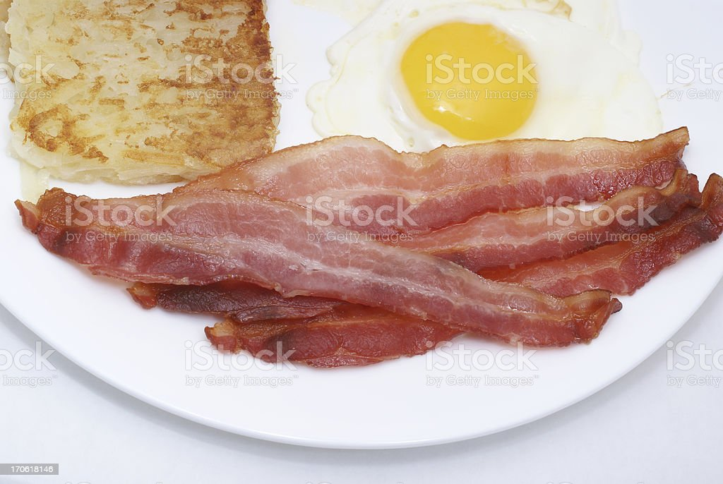 bacon, egg, hash brown breakfast plate royalty-free stock photo