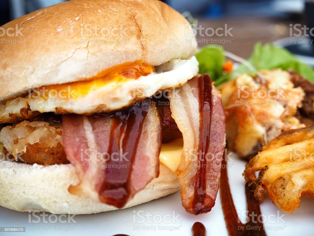 Bacon, Egg & Hash Brown Breakfast Sandwich stock photo