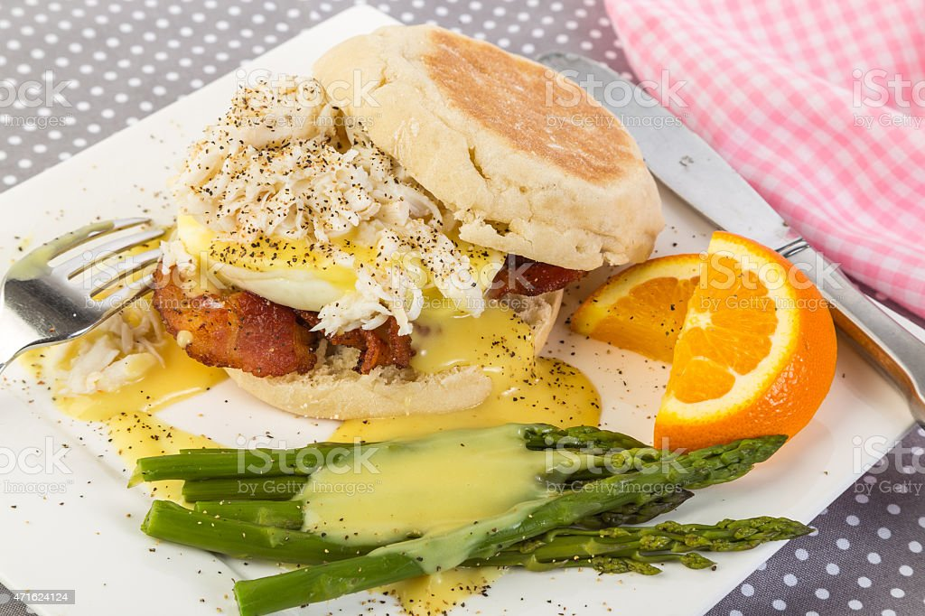 Bacon Eggs and Lump Crab Meat stock photo