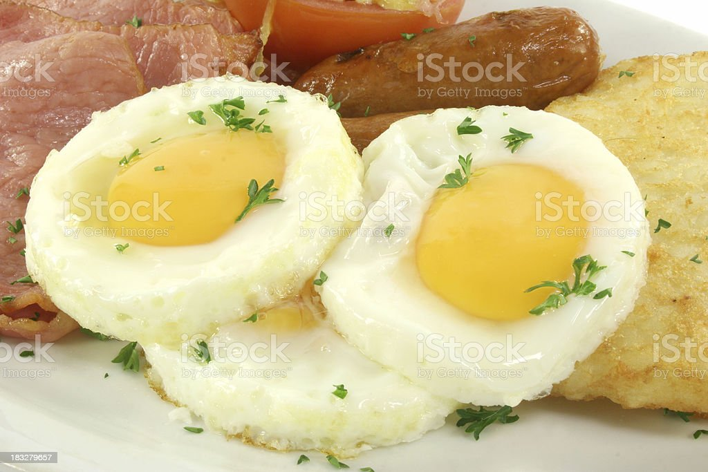 bacon eggs hash brown and tomato royalty-free stock photo