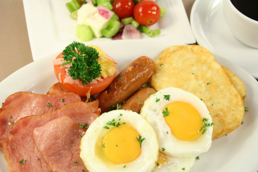 Bacon Eggs Hashbrowns Tomato Sausages Stock Photo - Download Image Now