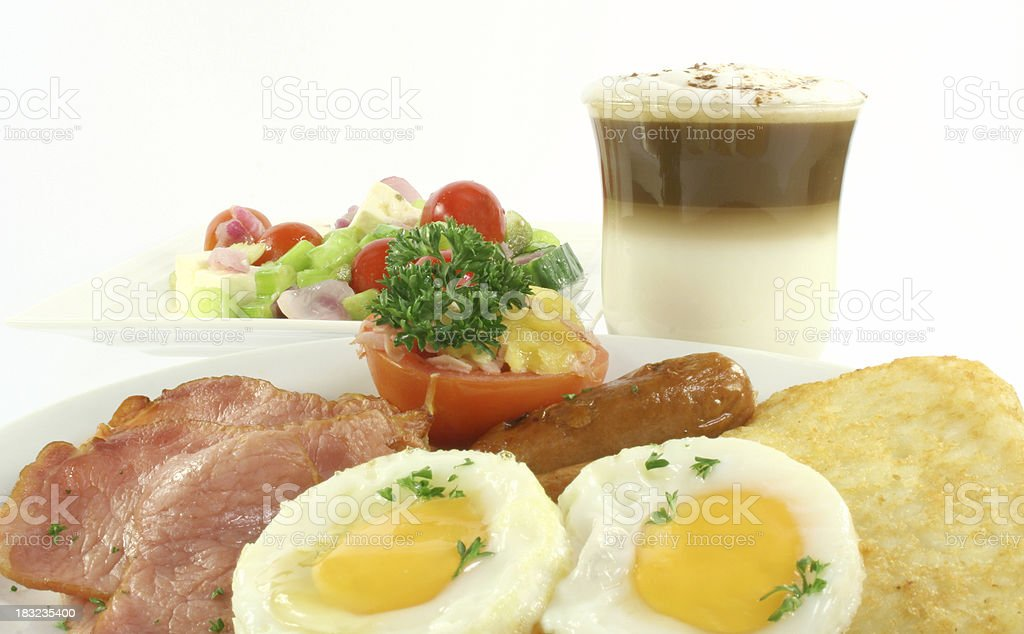 bacon, eggs, salad, hasbrowns, royalty-free stock photo
