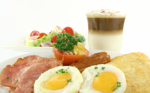 Bacon Eggs Salad Hasbrowns Stock Photo - Download Image Now