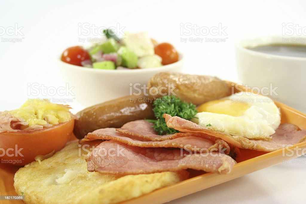 bacon, eggs, sausages, tomato, hashbrowns and salad - Royalty-free Bacon Stock Photo