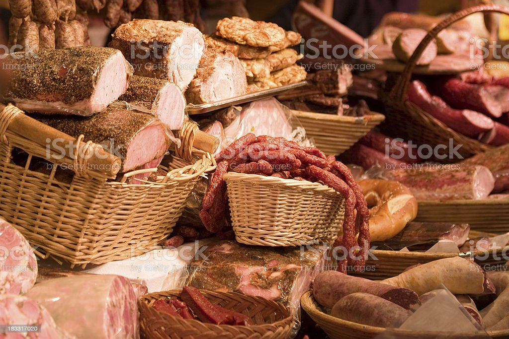 bacon, ham and sausages stock photo
