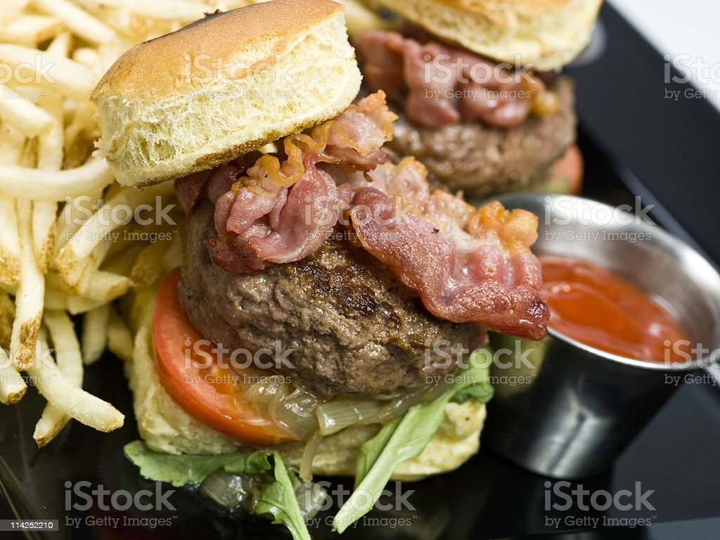 Bacon & Kobe beef Mini Burgers royalty-free stock photo