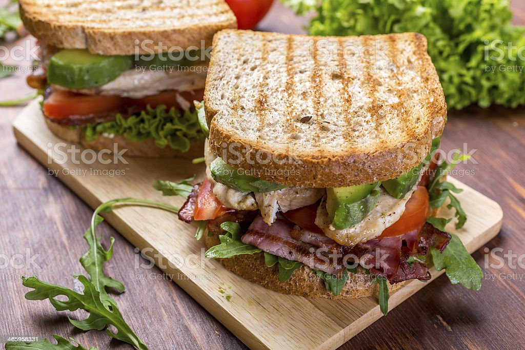Bacon, Lettuce and Tomato BLT Sandwiches stock photo