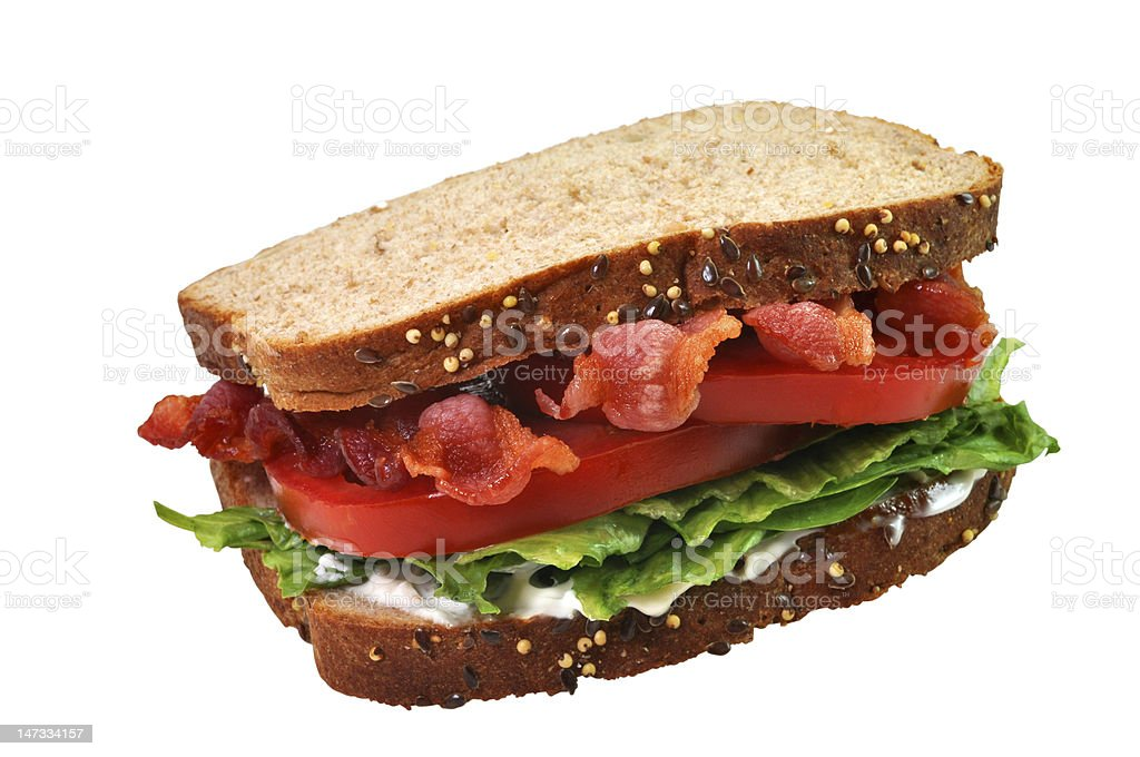 Bacon, Lettuce, and Tomato Sandwich, Isolated, Clipping Path stock photo