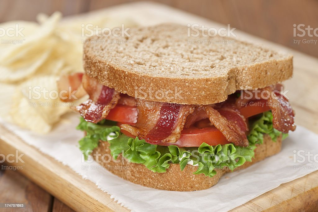 Bacon Lettuce and Tomato Sandwich (BLT) stock photo