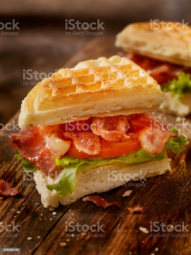Bacon, Lettuce and Tomato Waffle Sandwich stock photo