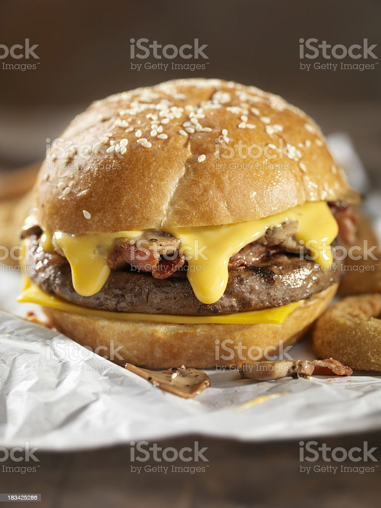Bacon Mushroom Cheeseburger stock photo