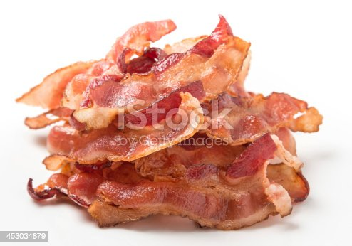 Heap of Bacon on White Background