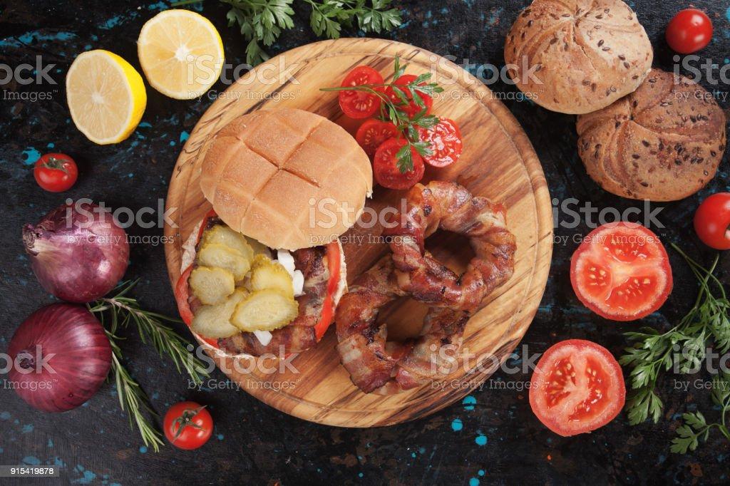 Bacon rings sandwich stock photo