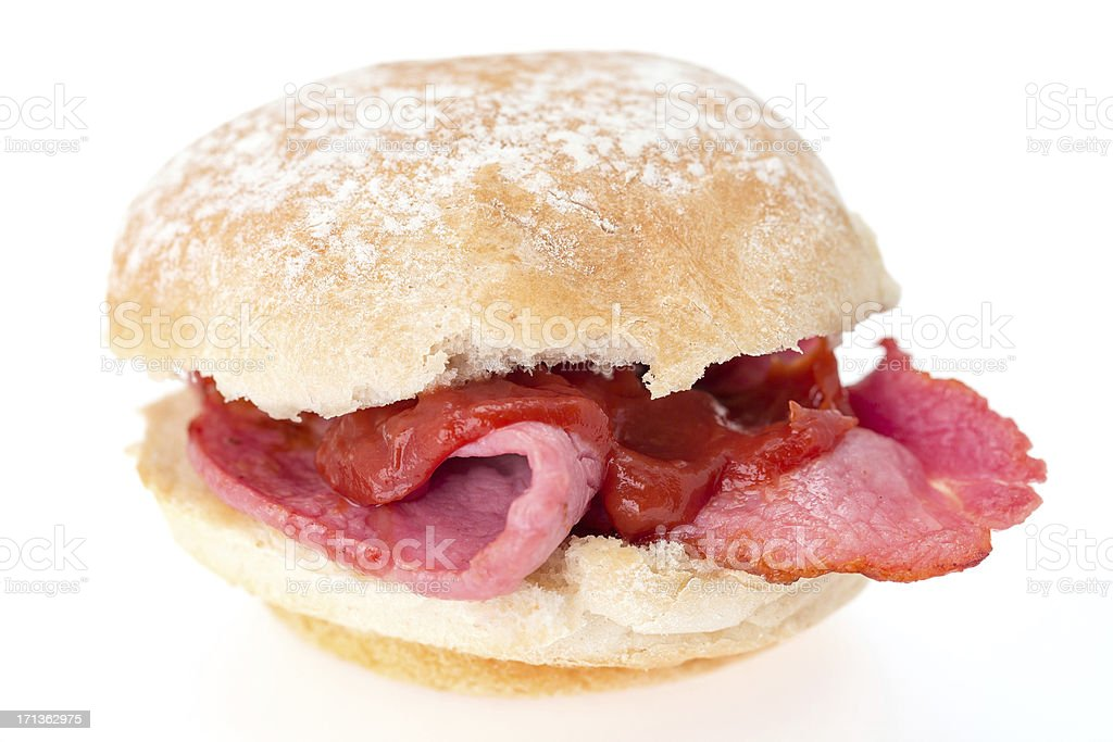 Bacon roll with tomato ketchup stock photo