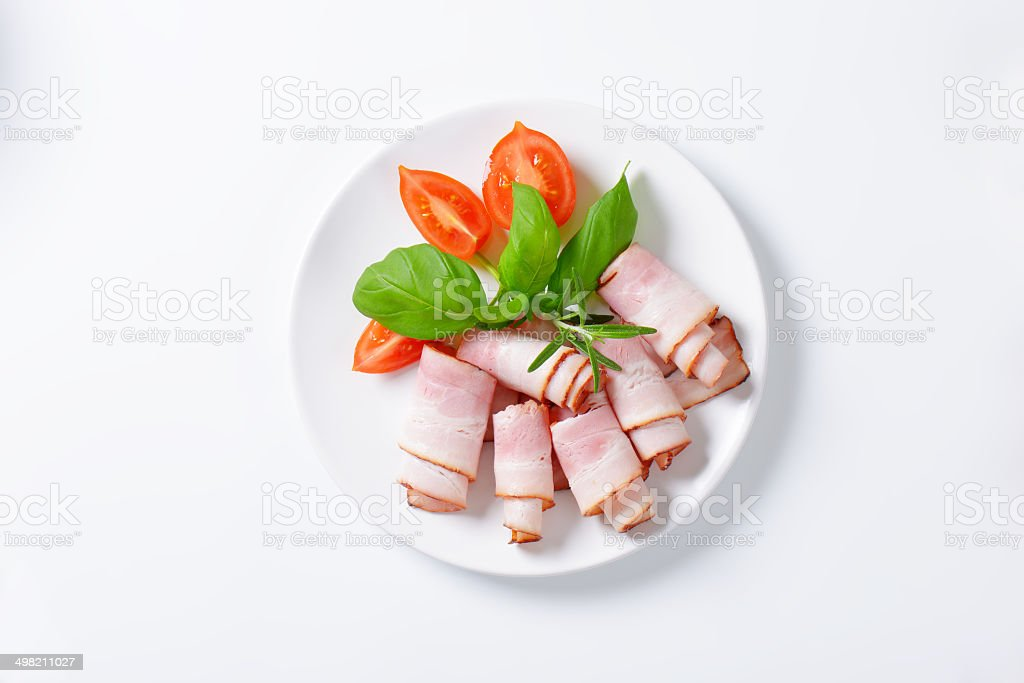 bacon rolls with garnish stock photo
