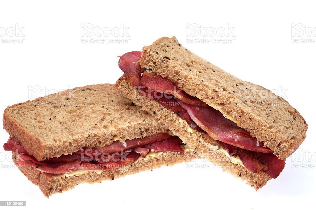 Bacon sandwich in granary brown bread stock photo