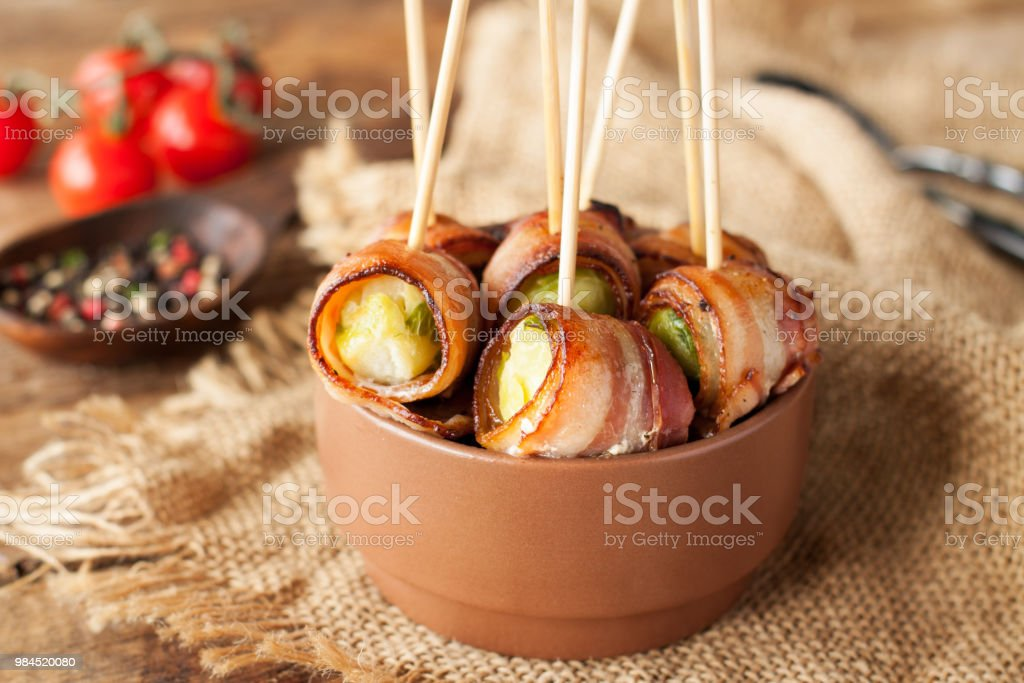 Bacon wrapped brussels sprouts stock photo