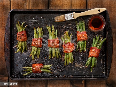 Bacon Wrapped Green Beans roasted with a Maple Glaze, Salt and Pepper