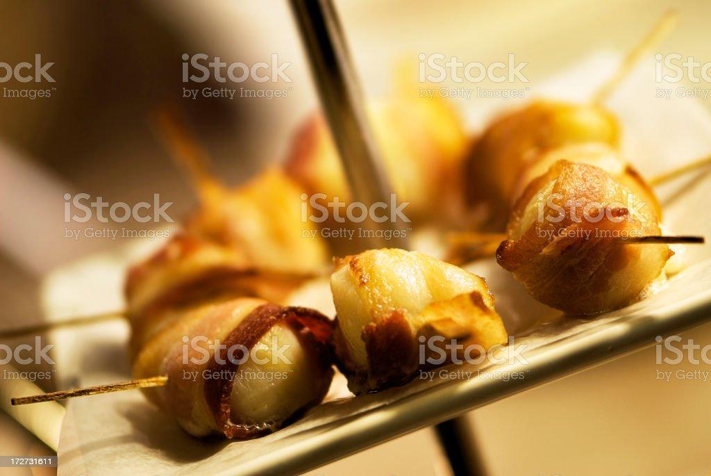 Bacon Wrapped Scallops stock photo