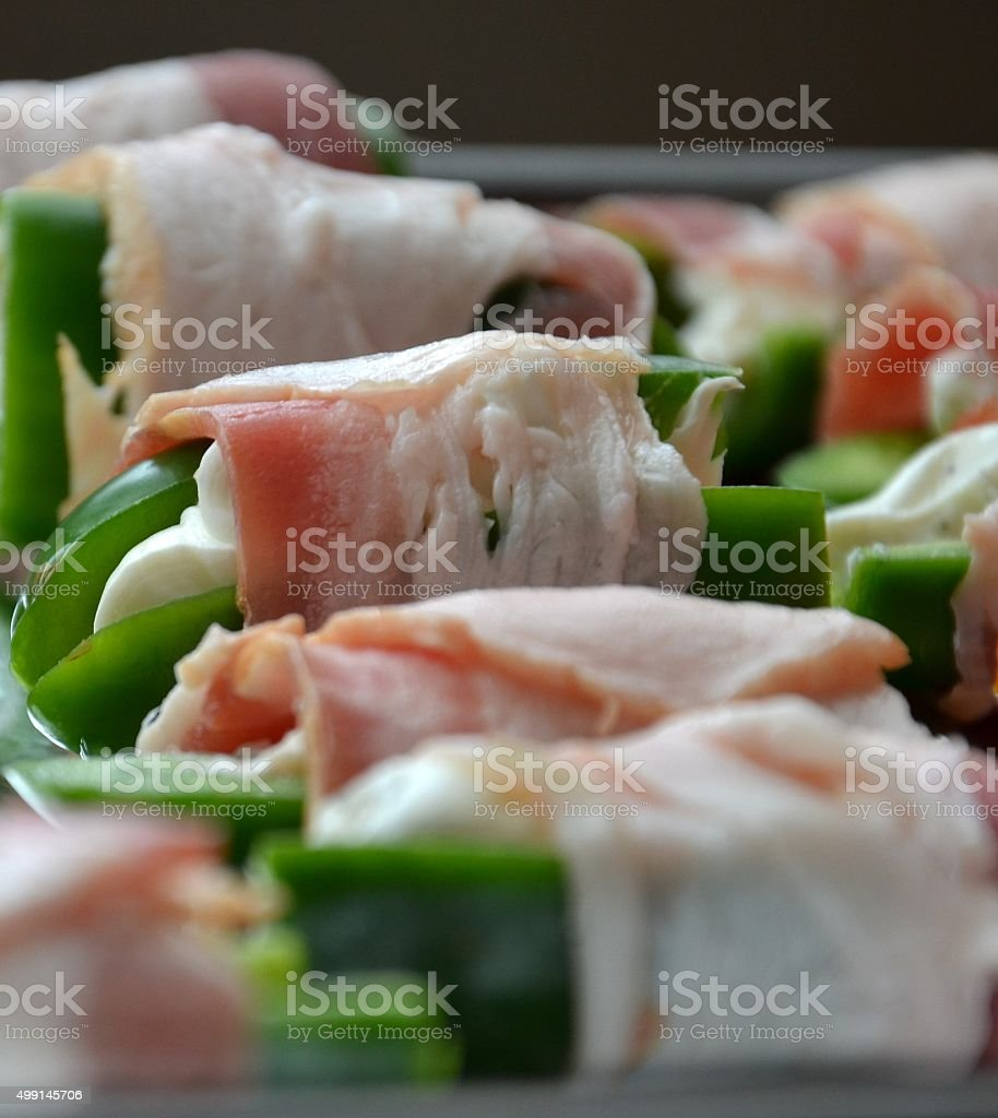 Bacon Wrapped Stuffed Jalapenos, Raw State stock photo