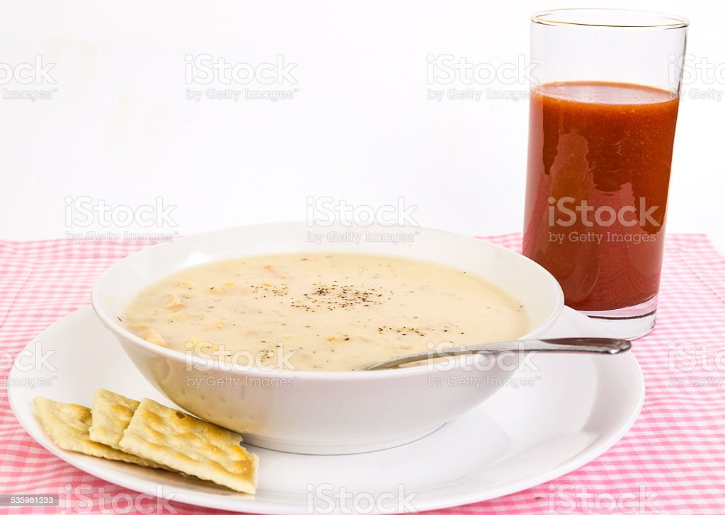 Bacon-flavored Corn and Chicken Chowder stock photo