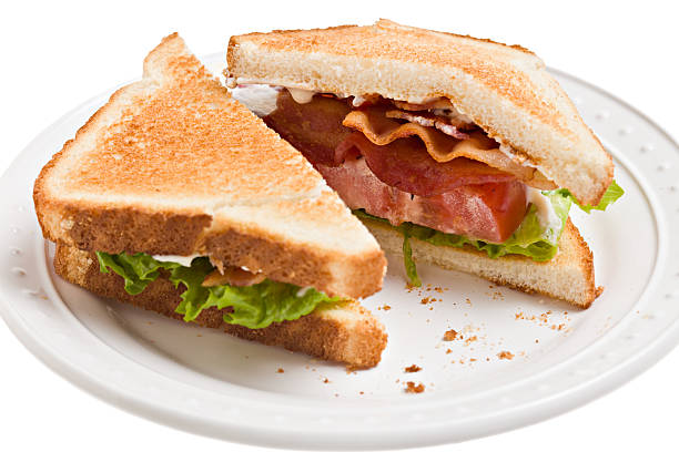 BLT, Bacon,Lettuce And Tomato Sandwich On Toast stock photo