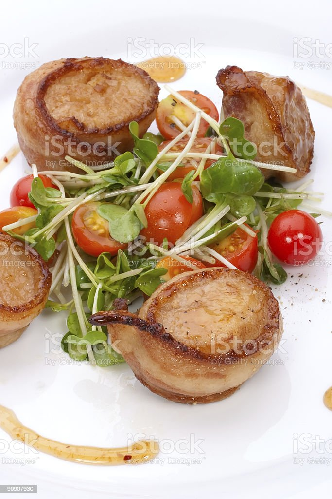 Bacon-Wrapped Ginger Soy Scallops royalty-free stock photo