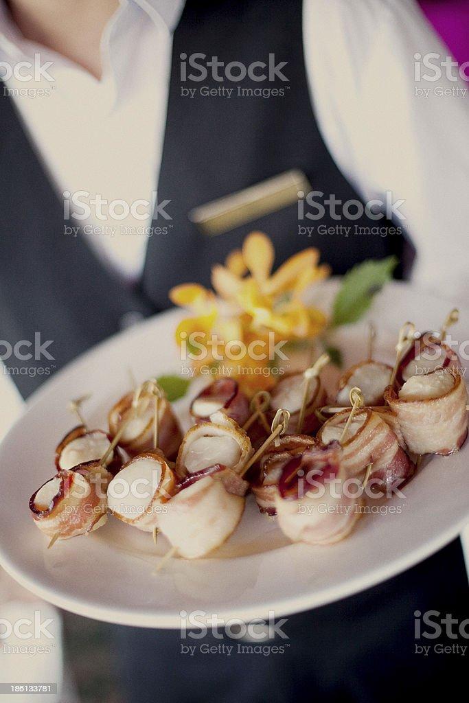 Bacon-wrapped Scallops stock photo