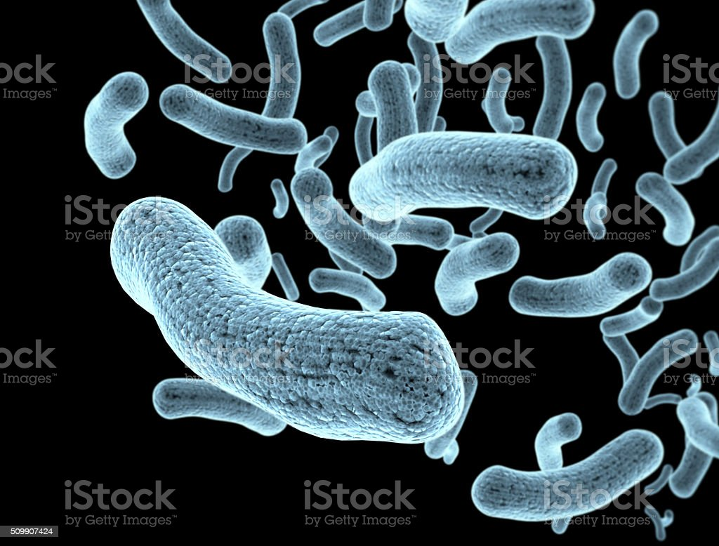 Bacteria and bacterium cells medical illustration of bacterial d stock photo