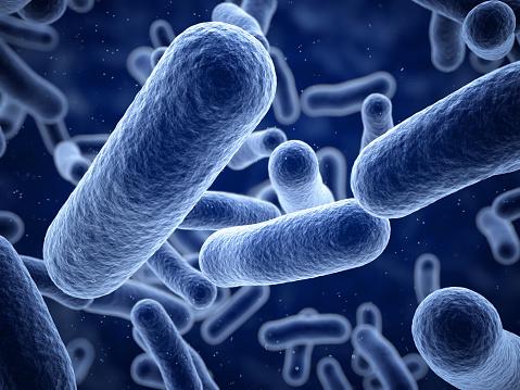 3d render Bacteria blue closeup (depth  of field)
