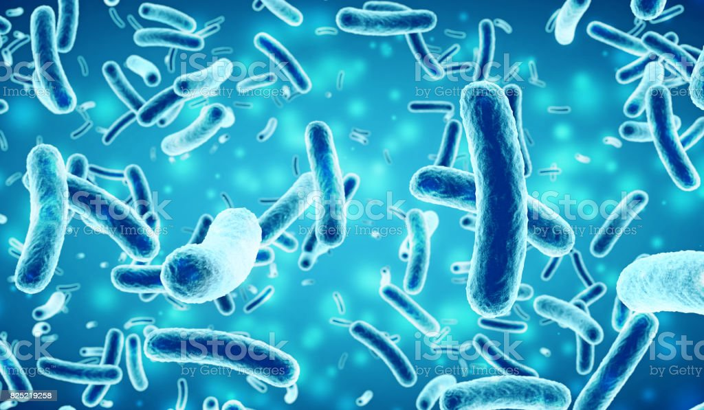 bacteria in a blue background stock photo