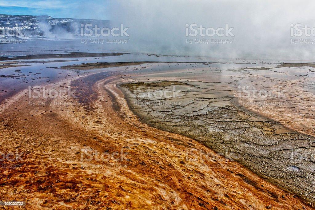 Bacterial mat at Grand Prismatic Hot Spring. stock photo