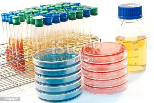 bacteriology equipment : petri dish, tube, bottle