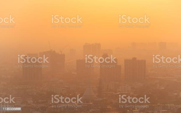 Photo of bad air with PM 2.5 dust in the atmosphere  in the city