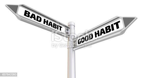 istock Bad and good habit. Road sign 637942050