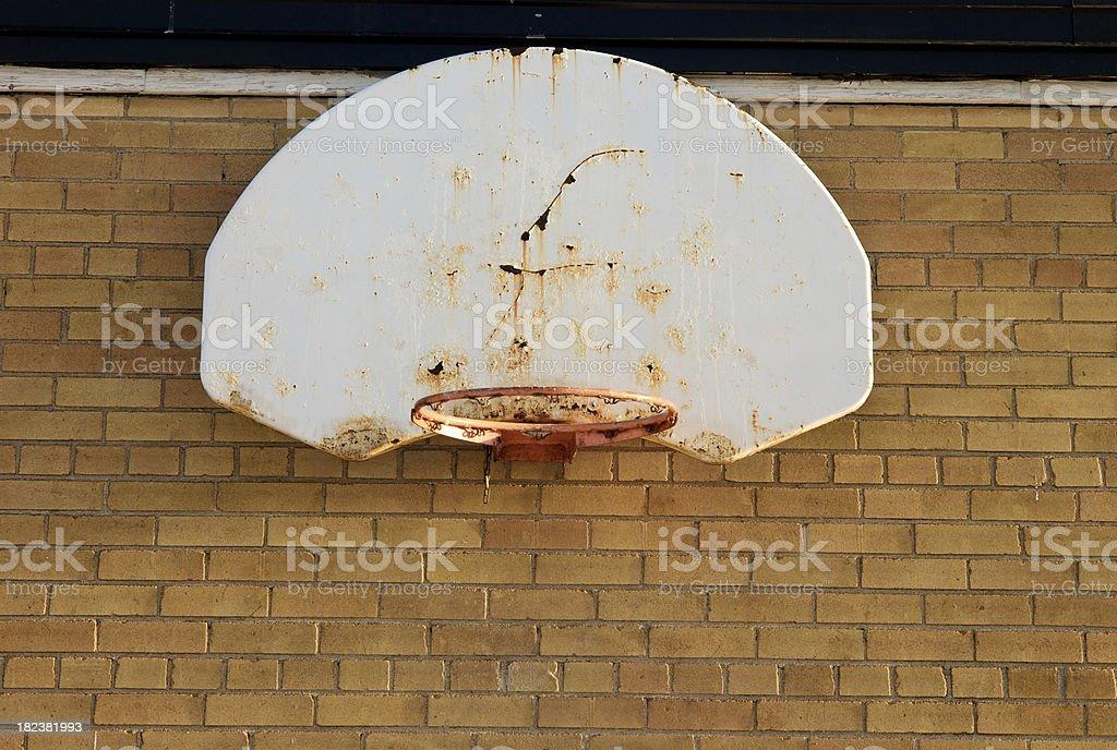 Bad Basketball Equipment at School stock photo