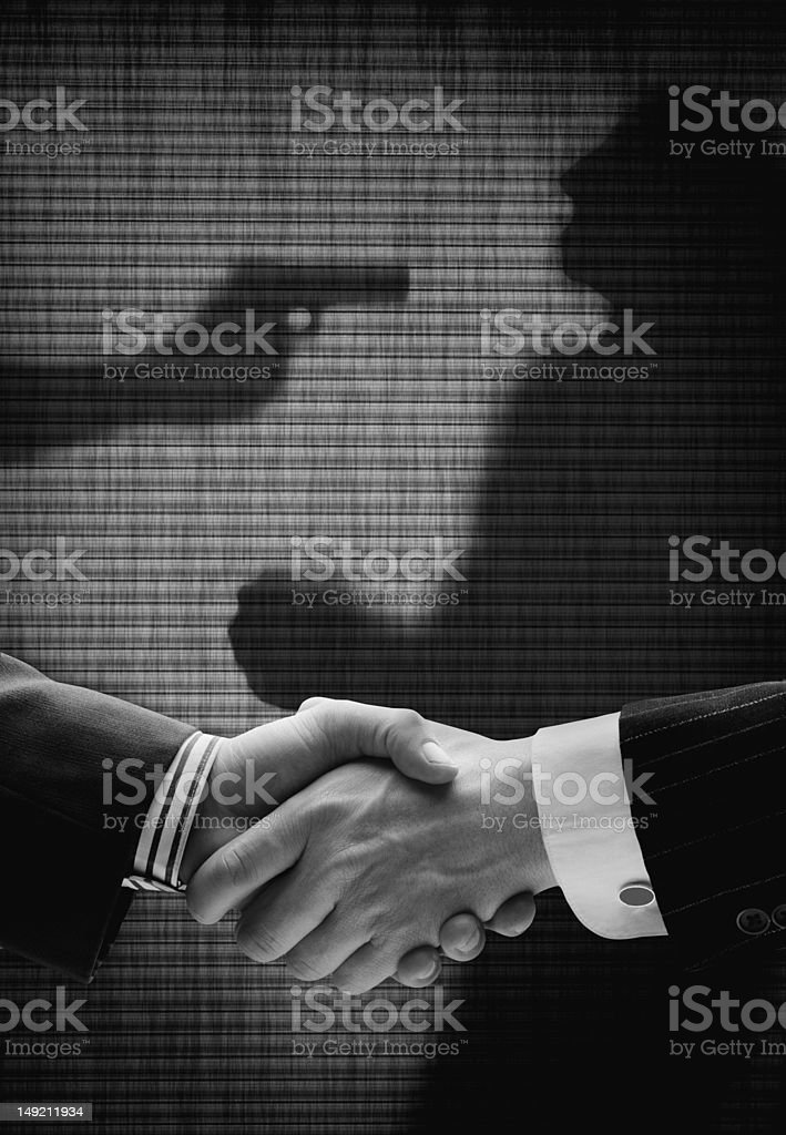 Bad business deal with silhouettes stock photo