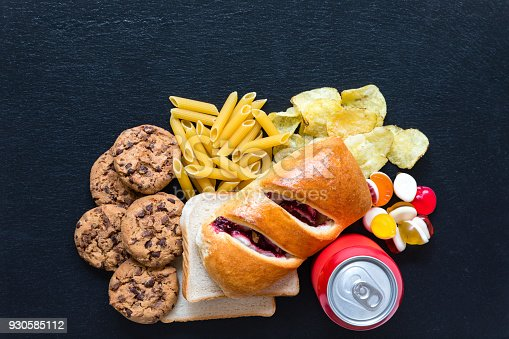 Table top food background with examples of bad carbohydrates (carbs) food items.