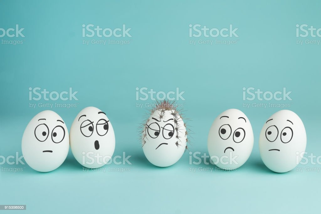 Bad character concept. Prickly egg. stock photo