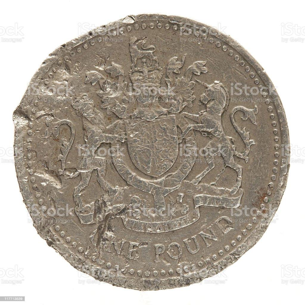 bad condition pound coin – uk economy economic crisis royalty-free stock photo