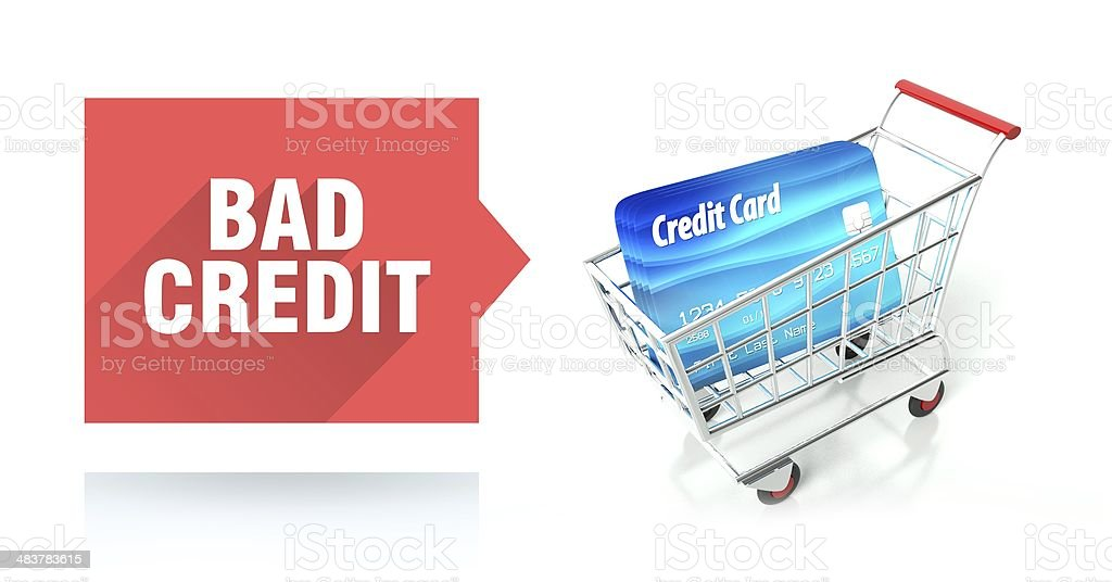 Bad credit score, concept with shopping cart stock photo