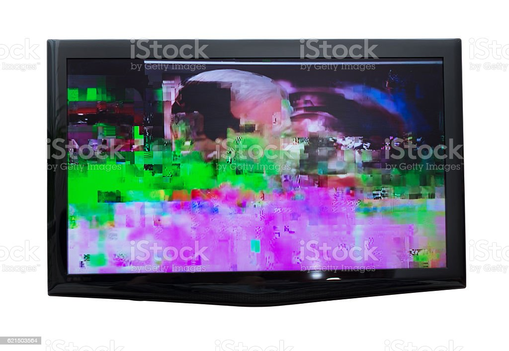 Bad digital signal on TV. Isolated on white. foto stock royalty-free