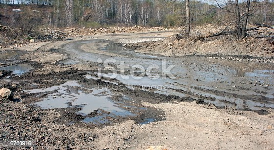 Bad dirt road with puddles