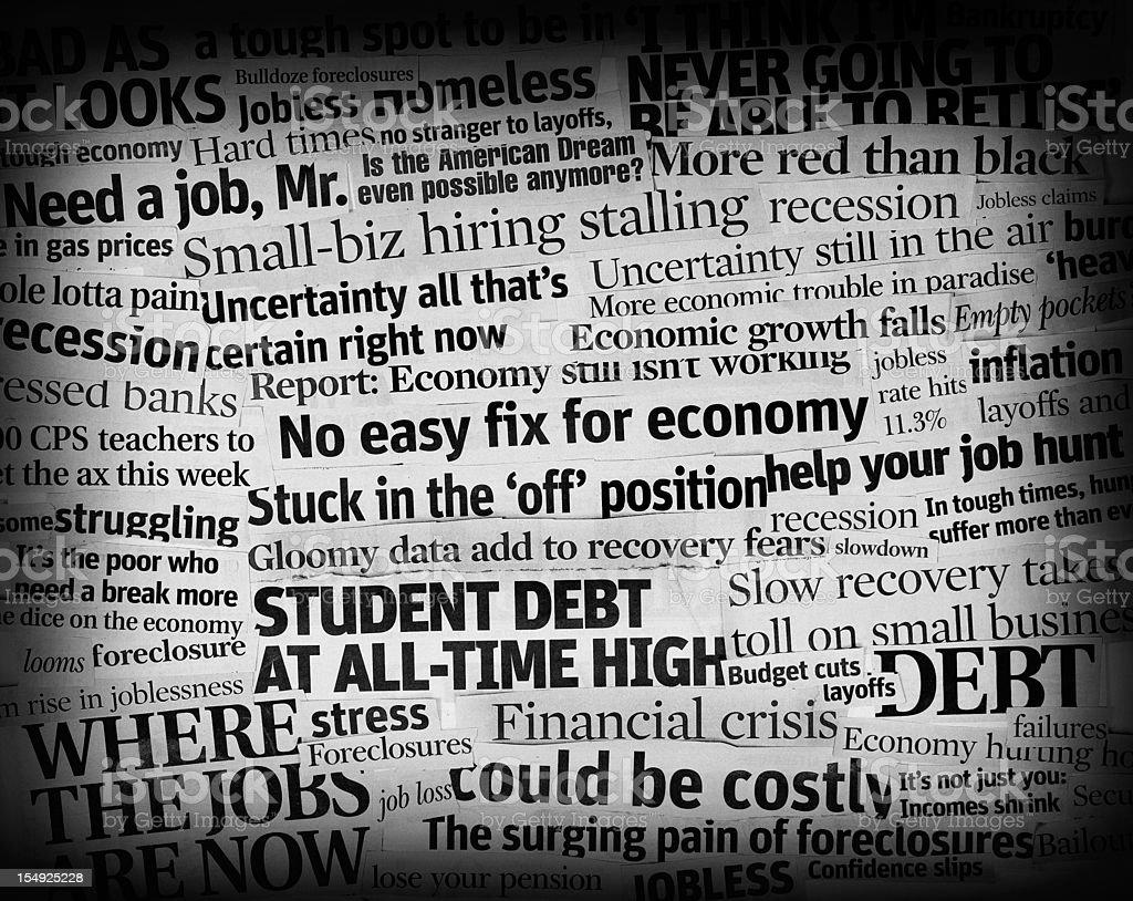 bad economic headlines 2011 collage royalty-free stock photo