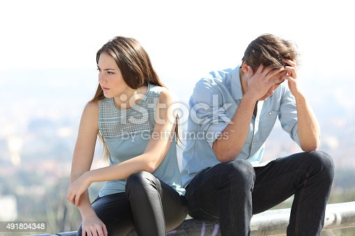 istock Bad girl arguing with her couple breakup concept 491804348