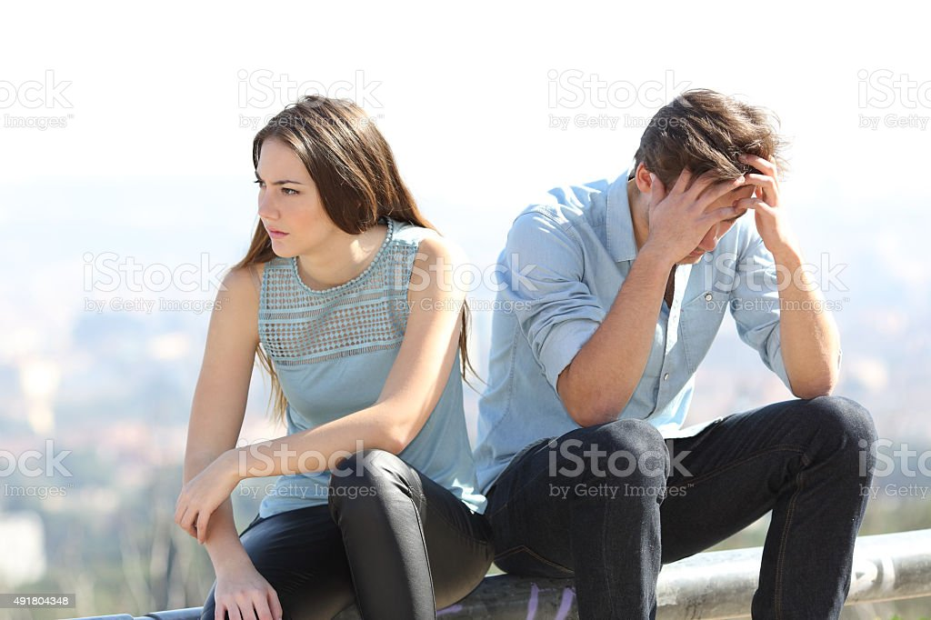 Bad girl arguing with her couple breakup concept stock photo