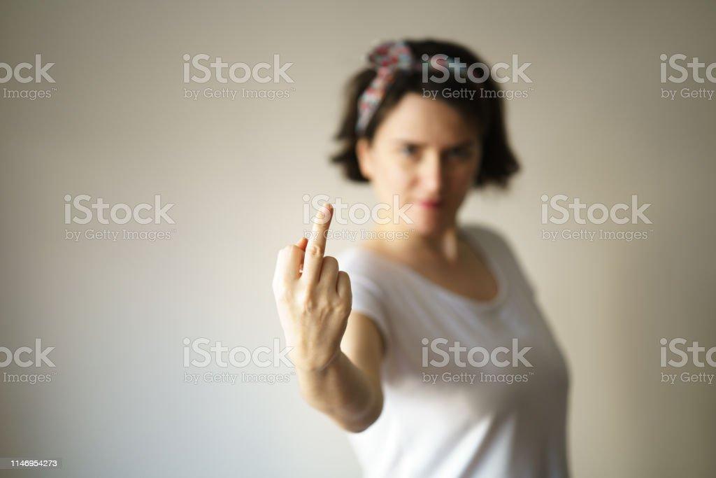 Bad Girl Showing Middle Finger